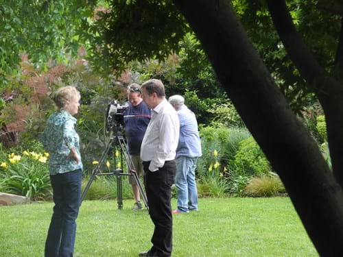 Landscape Design Melbourne | Sandra McMahon Gardenscape Design | Filming of the garden for the ABC's Gardening Australia.