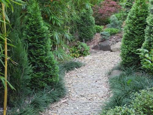 Landscape Design Melbourne | Sandra McMahon Gardenscape Design | pebble and roof tiles suggest a stream, yet provide a good surface for a path